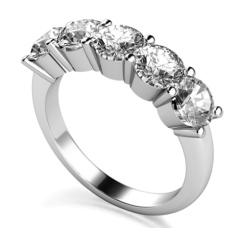 1.00ct I1/F 5 Stone Round Diamond Half Eternity Ring - 1.00ct I1/F 5 Stone Round Diamond Half Eternity Ring