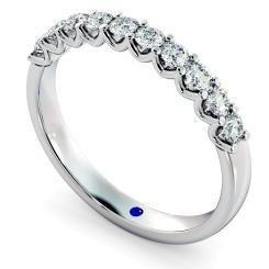 CORONA U Prong Round cut Half Eternity Ring - white