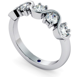 LEO Round cut 5 Stone Diamond Eternity Ring - white