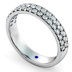 TAURUS Double row Round cut Half Eternity Ring - white