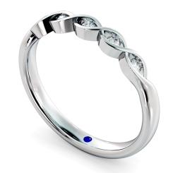 REGULUS Crossover Round cut 5 Stone Diamond Eternity Ring - white