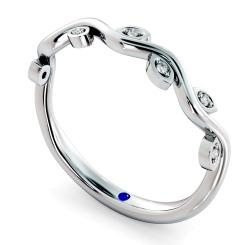 CRATER Leafy Round cut Diamond Half Eternity Ring - white