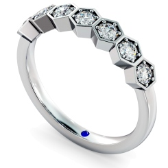 OKDA Round cut Vintage Half Eternity Diamond Ring - white