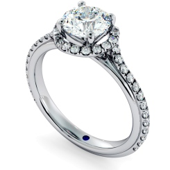HRRSD693 Crossover Round cut Halo Diamond Ring - white