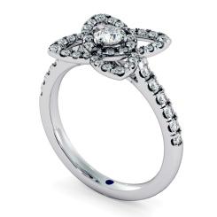 HRRSD726 Lotus Motif Halo Diamond Ring - white