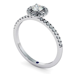 HRRSD735 Round cut High set Halo Diamond Ring - white