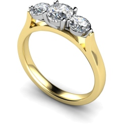 HRRTR141 Round 3 Stone Diamond Ring 0.30ct / H-I / I1 - yellow