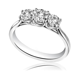 HRRTR1603 0.50CT SI1/F ROUND DIAMOND TRILOGY RING - white