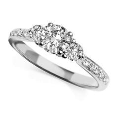 HRRTR1605 0.75CT I1/H ROUND DIAMOND TRILOGY RING - white