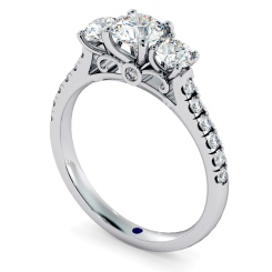 HRRTR732 Round cut Designer 3 Stone Diamond Engagement Ring - white