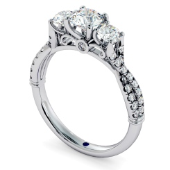 HRRTR734 Round cut Twisted Shoulders 3 Stone Diamond Engagement Ring - white