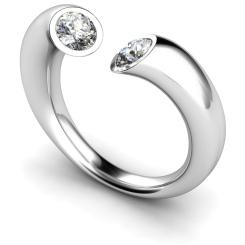HRRTW88 Twin Round Diamond Ring - white
