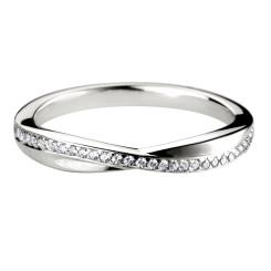 HRRWB004 Round cut Crossover Diamond Wedding Ring - white