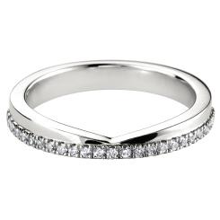 HRRWB005 Round cut Diamond Shaped Wedding Ring - white