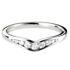 HRRWB006 Round cut Diamond Shaped Wedding Ring - white