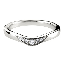 HRRWB008 Round cut Diamond Shaped Wedding Ring - white