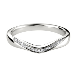 HRRWB009 Round cut Diamond Shaped Wedding Ring - white
