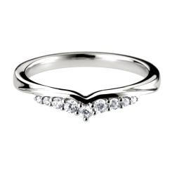 HRRWB010 Round cut Diamond Shaped Wedding Ring - white