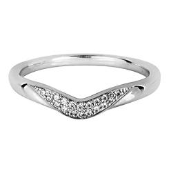 HRRWB011 Round cut Diamond Shaped Wedding Ring - white