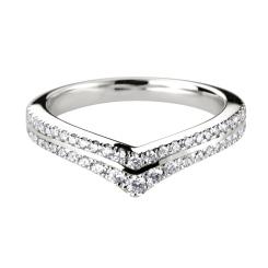 HRRWB012 Round cut Diamond Shaped Wedding Ring - white