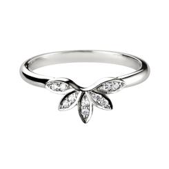 HRRWB013 Round cut Diamond Shaped Wedding Ring - white