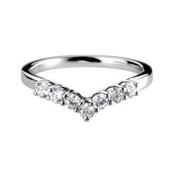 HRRWB014 Round cut Diamond Shaped Wedding Ring - white