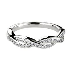HRRWB015 Round cut Diamond Shaped Wedding Ring - white