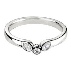 HRRWB017 Round cut Diamond Shaped Wedding Ring - white