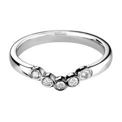 HRRWB018 Round cut Diamond Shaped Wedding Ring - white