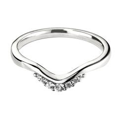 HRRWB019 Round cut Diamond Shaped Wedding Ring - white