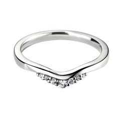 HRRWB020 Round cut Diamond Shaped Wedding Ring - white