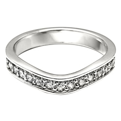 HRRWB024 Round cut Diamond Shaped Wedding Ring - white