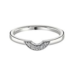 HRRWB039 Round cut Diamond Shaped Wedding Ring - white