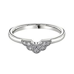 HRRWB041 Round cut Diamond Shaped Wedding Ring - white