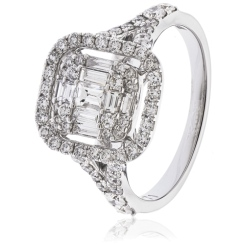 HRX1613 1.00CT VS/FG ROUND & BAGUETTE DIAMOND DRESS RING - white