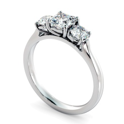 HRXTR1180 Asscher & Round 3 Stone Diamond Ring - white