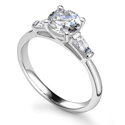HRXTR1575 GIA CERTIFIED 1.00CT VS2/D ROUND DIAMOND TRILOGY RING - white