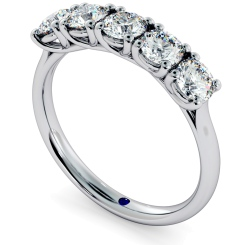 SPICA Round cut 5 Stone Crossover Eternity Ring - white