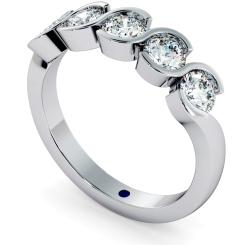 WHIRLPOOL Round cut Swirl 5 Stone Diamond Ring - white