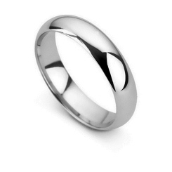 HWD1848 5MM D SHAPED WEDDING RING, 18CT WHITE GOLD, SIZE O - white