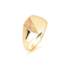 9ct Yellow Gold Gents Cushion Signet Ring - 9ct Yellow Gold Gents Cushion Signet Ring