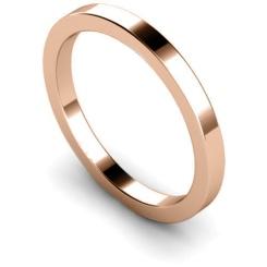 2mm Flat Shaped Wedding Band, 18ct Rose Gold, Size H - 2mm Flat Shaped Wedding Band, 18ct Rose Gold, Size H