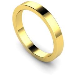 3mm Flat Shaped Wedding Band, 18ct Yellow Gold, Size I - 3mm Flat Shaped Wedding Band, 18ct Yellow Gold, Size I
