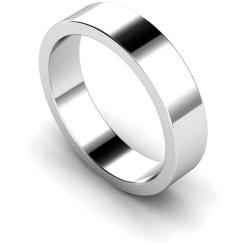 5mm Flat Shaped Wedding Band, 18ct White Gold, Size P - 5mm Flat Shaped Wedding Band, 18ct White Gold, Size P