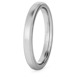 HWNB2517 Bevelled Edge Wedding Ring - 2.5mm width, 1.8mm depth - white