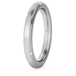 HWNB2521 Bevelled Edge Wedding Ring - 2.5mm width, 2.3mm depth - white