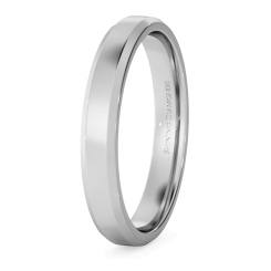 HWNB313 Bevelled Edge Wedding Ring - 3mm width, 1.4mm depth - white