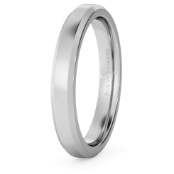 HWNB317 Bevelled Edge Wedding Ring - 3mm width, 1.8mm depth - white