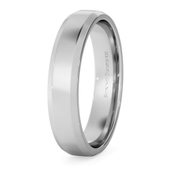 Bevelled Edge Wedding Ring - 4mm width, 1.4mm depth - white