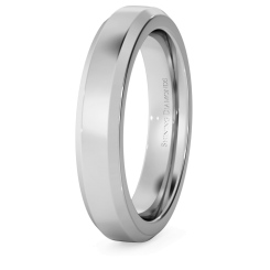 HWNB421 Bevelled Edge Wedding Ring - 4mm width, 2.3mm depth - white